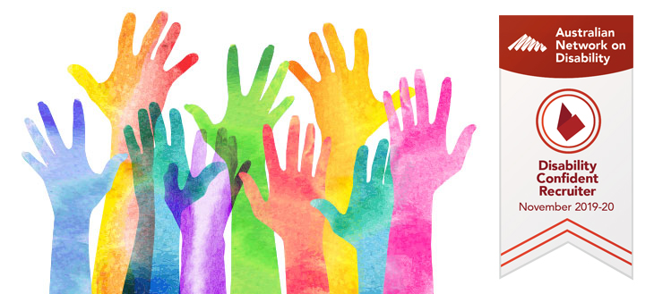 colourful collage of painted hands - diversity